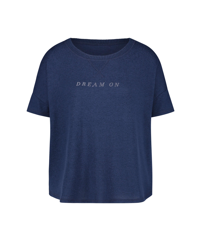 Pyjamatop korte mouwen Brushed Jersey, Blauw, main