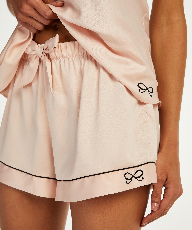 Short de pyjama satin lace, Rose, main
