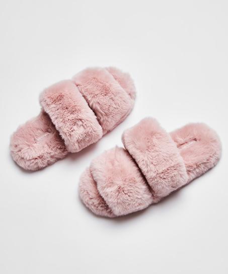 Pantoufles Fake Fur, Rose
