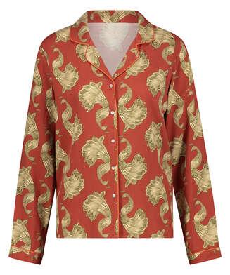 Haut de pyjama manches longues Graphic Peacock, Rose
