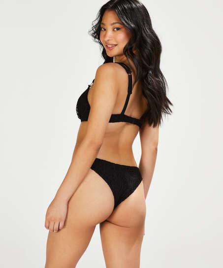 Voorgevormde push-up beugel bikinitop Crochet Cup A - E, Zwart