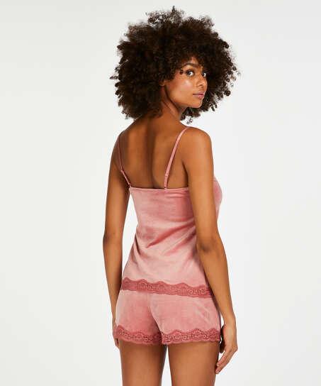 Cami Velours Lace, Roze