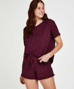Korte pyjama set Dot, Rood