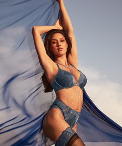 Slip brésilien taille haute Philomena Rebecca Mir, Bleu