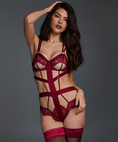 Body Private ouvert Flora, Rouge