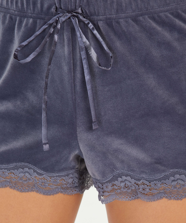 Shorts Velours Lace, Grijs, main