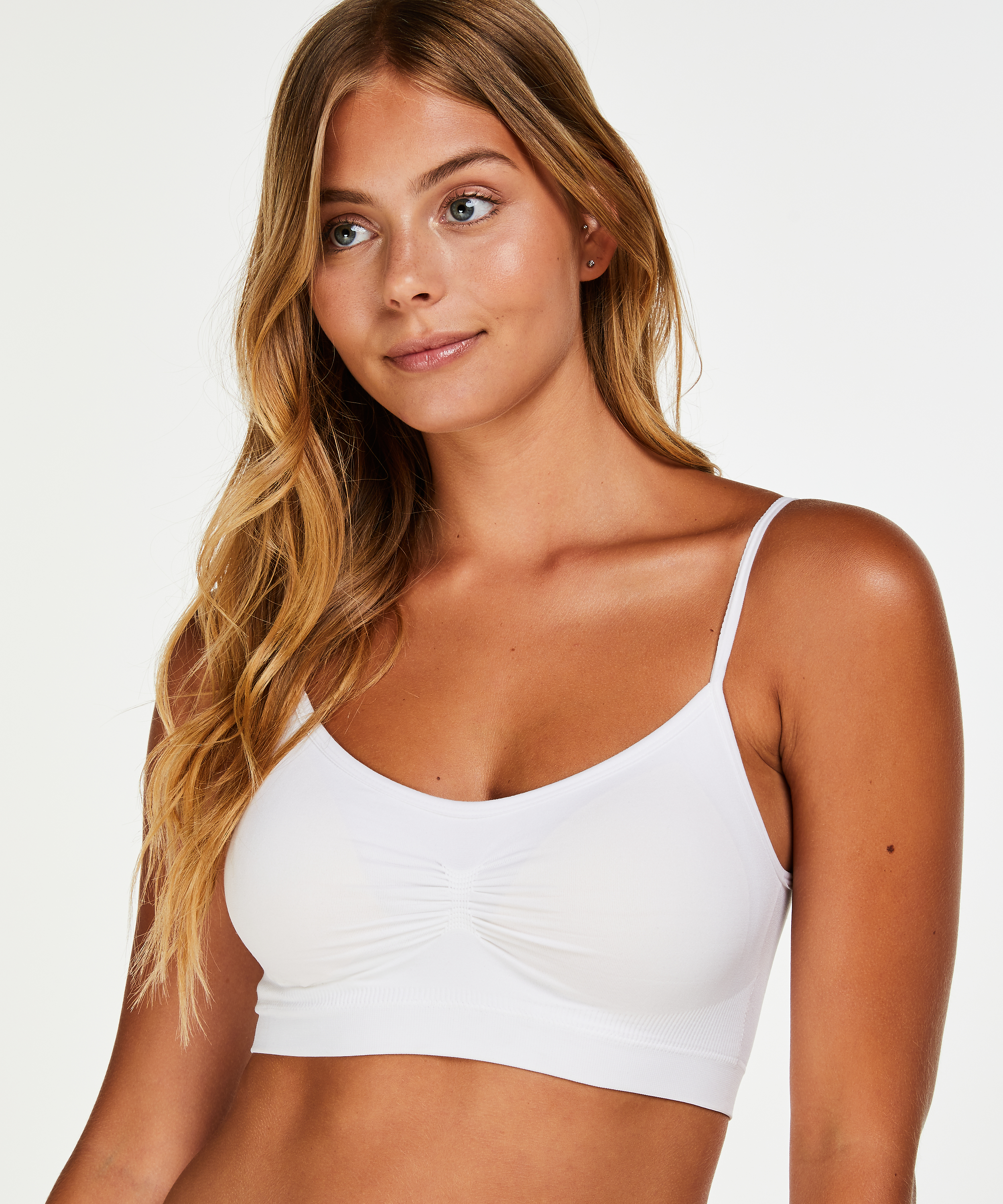 Seamless strappy top, Wit, main