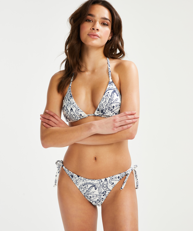 Bas de bikini brésilien tanga Paisley, Blanc, main