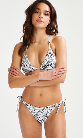 Bas de bikini brésilien tanga Paisley, Blanc