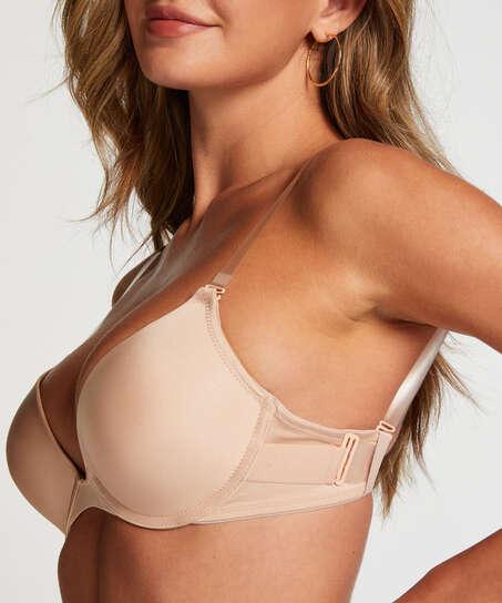 Soutien-gorge à armatures préformé push-up Transparent back, Beige