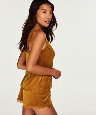 Pyjama short velours, Geel