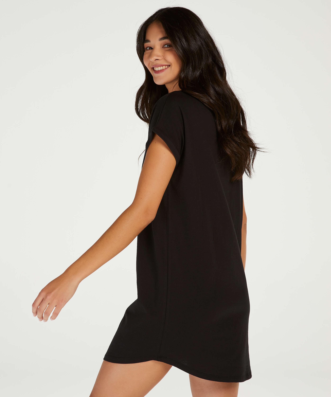 Chemise de nuit à encolure arrondie, Noir, main