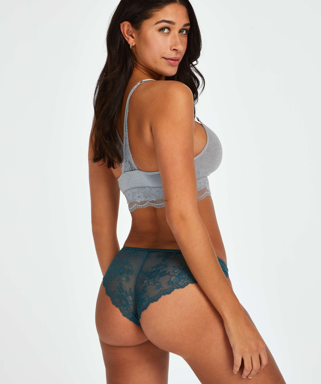 Slip brésilien Invisible Lace Back, Bleu, main