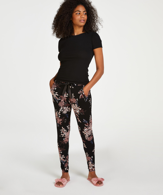 Pyjama top korte mouwen rib, Zwart, main
