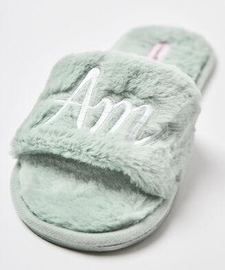 Sandales d'intérieur fake fur, Vert