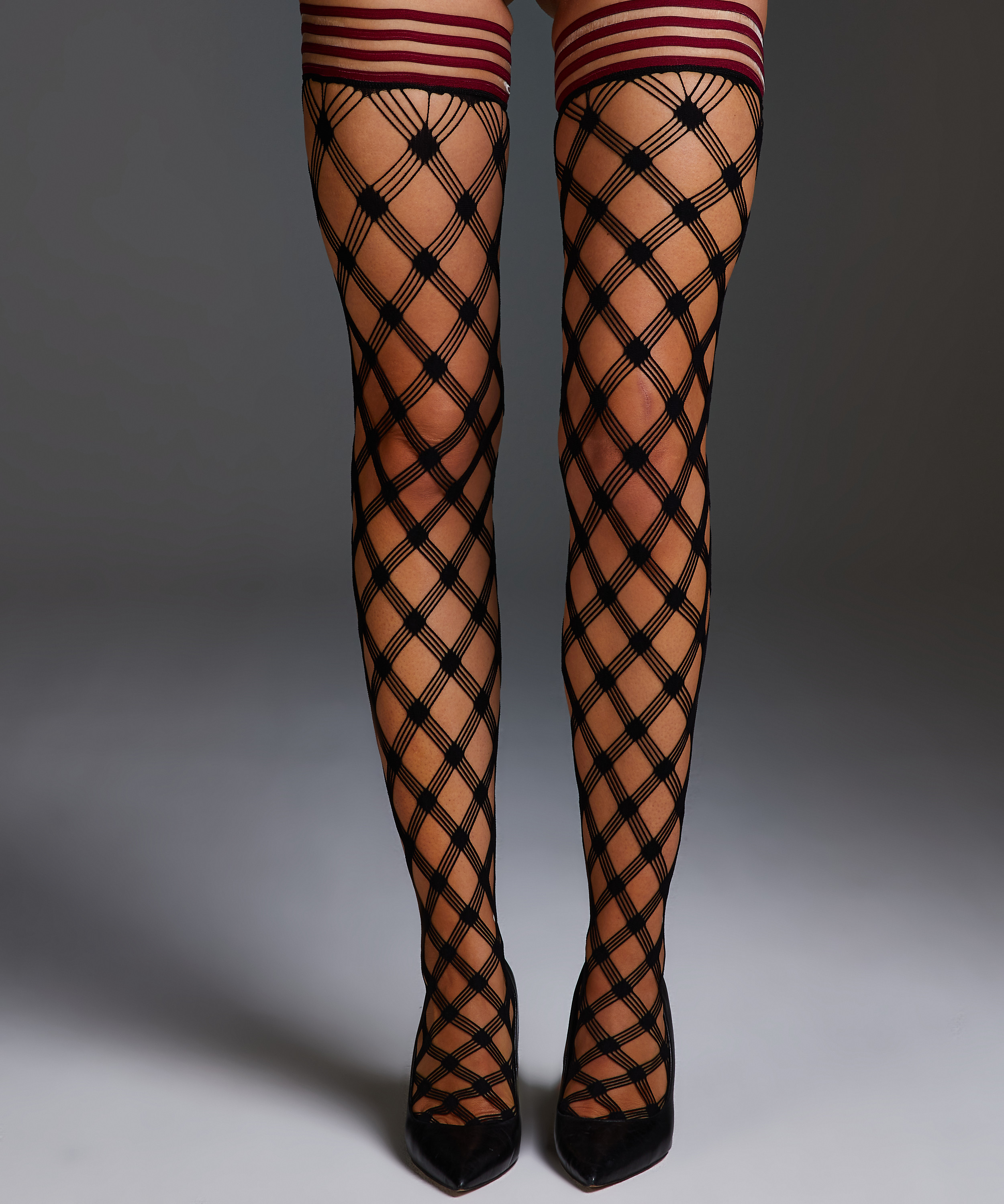 Stay-up Private Fishnet Crystal, Rood, main
