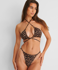 Voorgevormde triangle bikinitop Animal Wrap HKM x NA-KD, Bruin