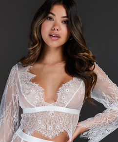 Top Allover Lace, Blanc