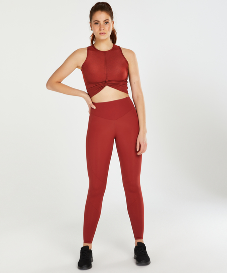 HKMX Sport cropped tank top Twisted Rib, Rouge