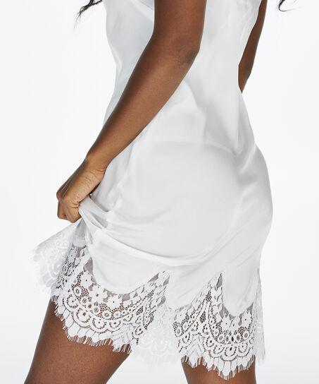 Nuisette Lace Satin, Blanc