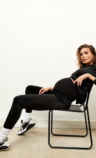 Zwangerschapsjoggingbroek Velours Shimmer, Zwart