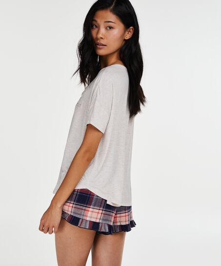 Pyjama top korte mouwen loose fit, Roze