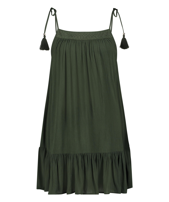 Mini jurk gevlochtend schouderbandjes, Groen, main
