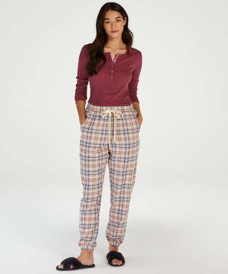 Pyjamabroek Check, Beige