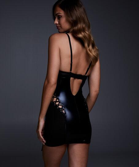 Slipdress mesh lace-up, Zwart