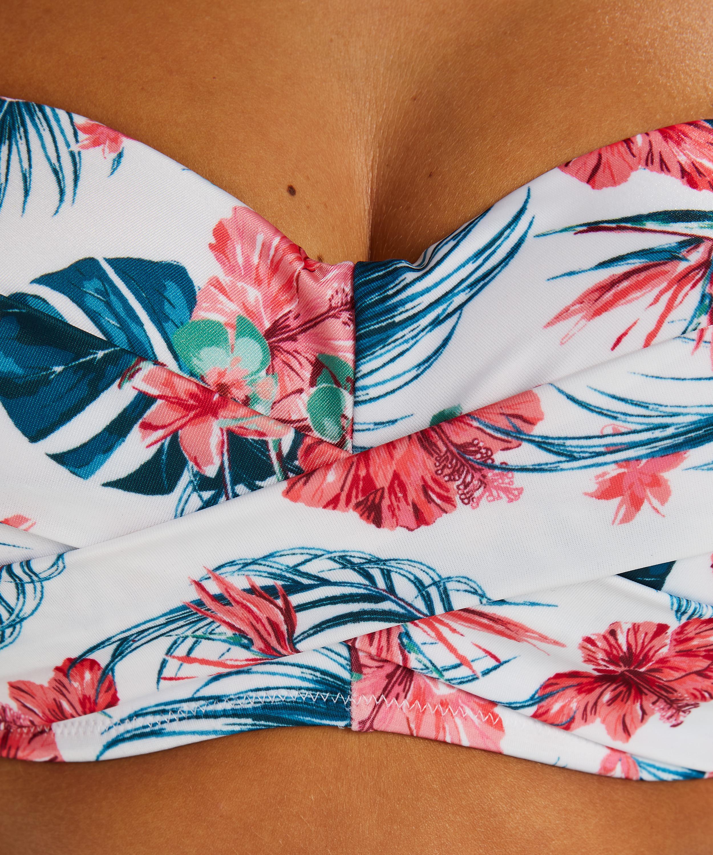 Voorgevormde bandeau bikinitop Vintage, Wit, main