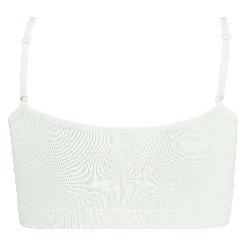 Top à fines bretelles sans coutures, Blanc, main