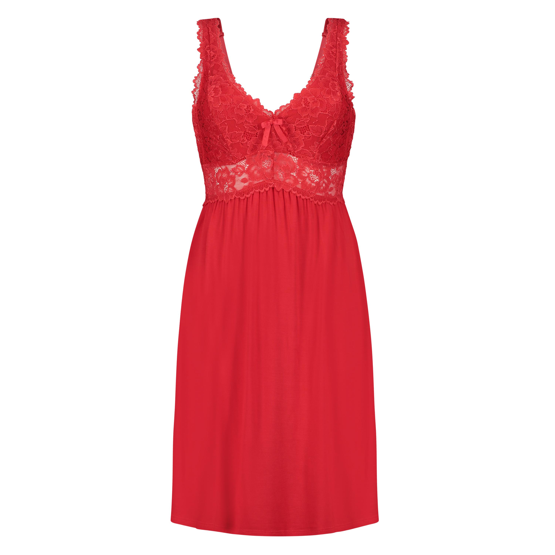 Slipdress Modal lace, Rood, main