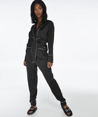 Pantalon de pyjama Satin Bow, Noir