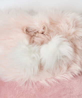 Pantoffel Textured Fur, Roze
