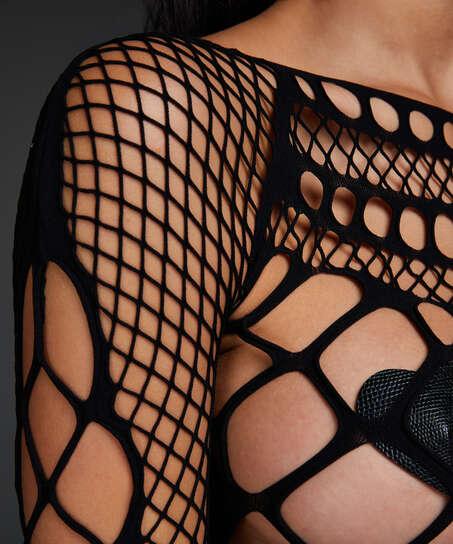 Private catsuit fishnet Chasity, Zwart