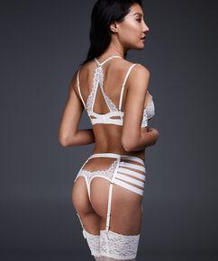 String porte-jarretelles taille haute Peaches, Blanc