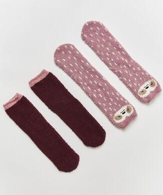2 Paar Cosy Socks, Roze