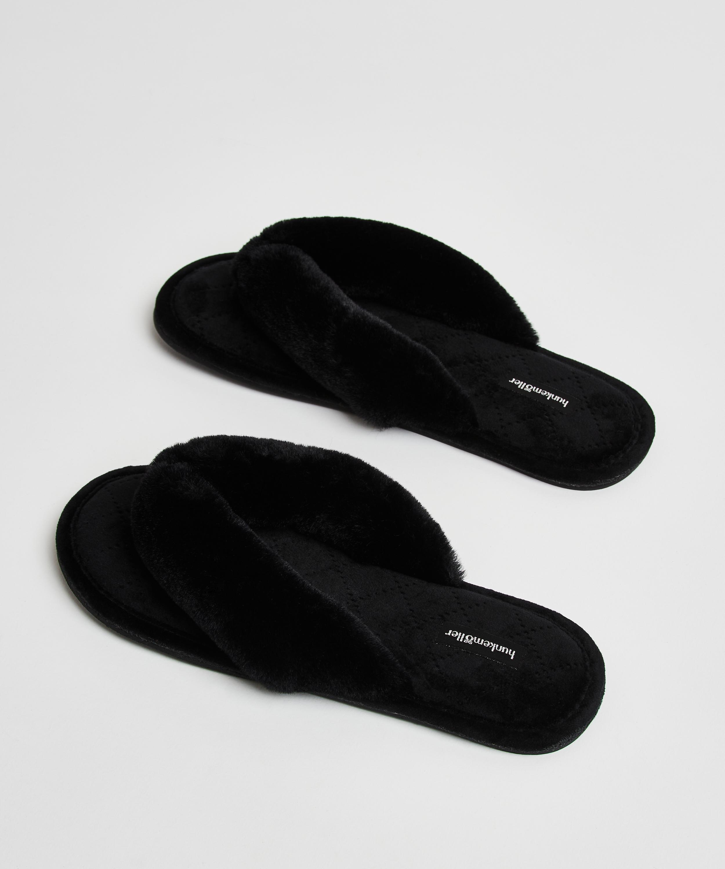 Slippers Velours fur, Zwart, main