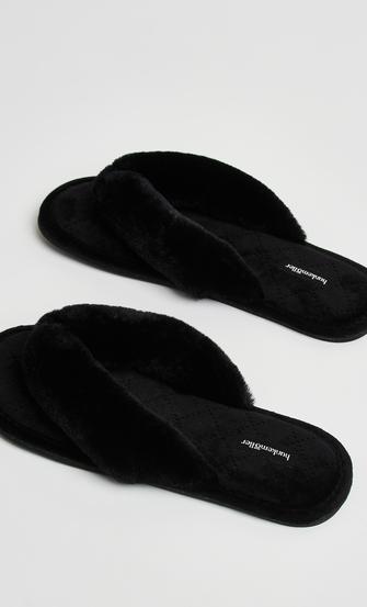 Slippers Velours fur, Zwart