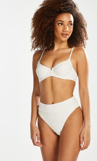 Bas de bikini taille haute Libby, Blanc