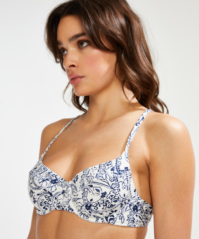 Haut de bikini à armatures non préformé Paisley, Blanc, main