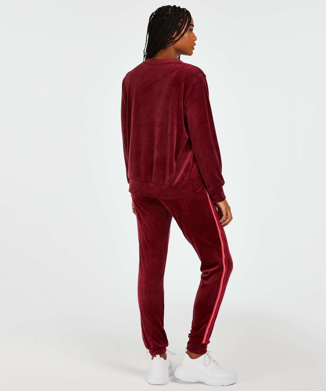 Pantalon de jogging Velours Stripe, Rouge, main