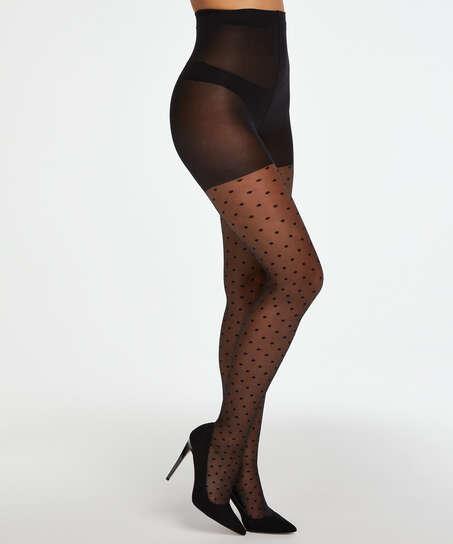 Panty 15 Denier Dot, Zwart
