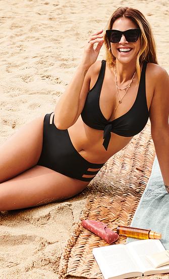 Hoog cheeky bikinibroekje Sunset Dream, Zwart
