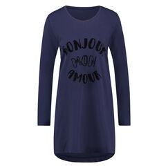 Chemise de nuit à décolleté arrondi, Bleu