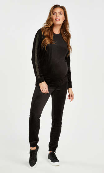 Zwangerschapstop Velours Shimmer, Zwart