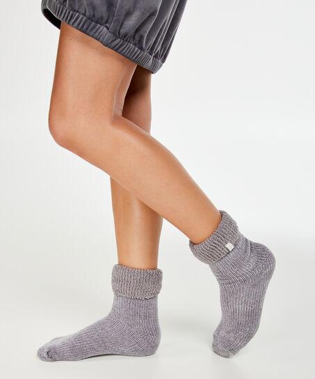 1 paar Cosy rib sokken, Grijs