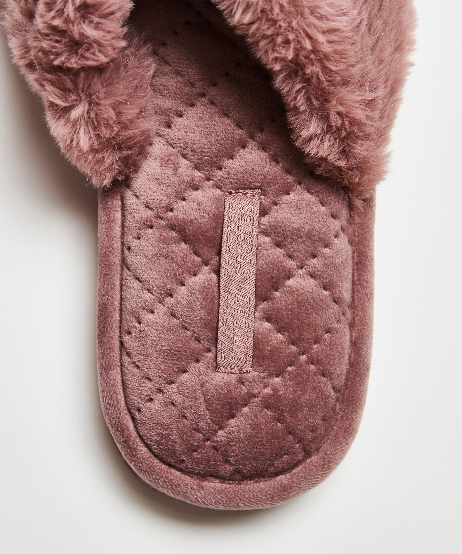 Pantoufles Fake Fur, Pourpre, main