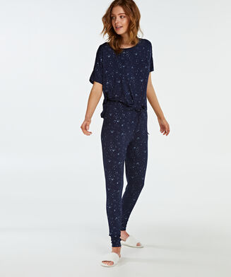 Pyjama top korte mouwen loose fit, Blauw