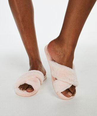 Cross Straps Indoor Sandal, Rose